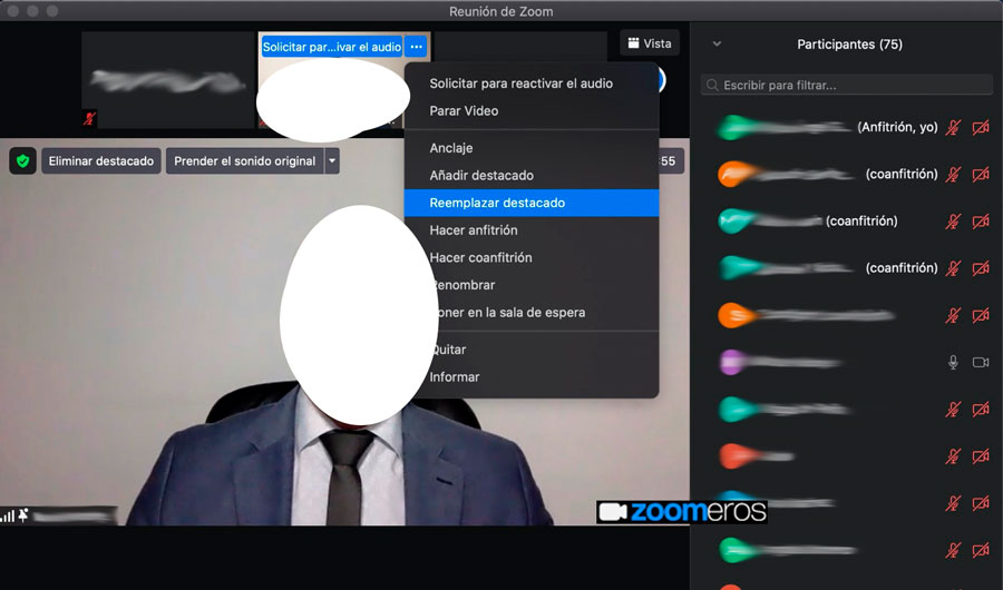 pantalla de zoom con un ponente y gestiójn de los destacados
