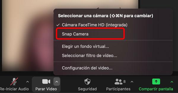 Seleecionar la cámara de Snap Camera